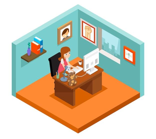 Фрилансер на работе. изометрическая 3d внештатная женщина, работающая дома.