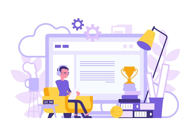 Freelancer boy home office abstract design. male freelance worker doing online job, self-employed person bright positive color room and giant screen symbol. vector illustration, faceless characters