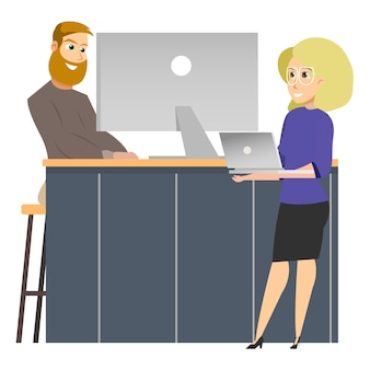 Freelancer by computer, woman standing with laptop