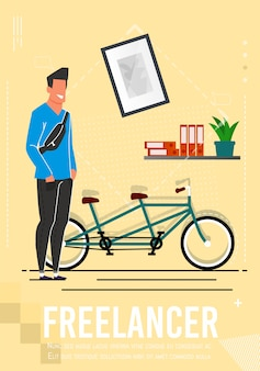 Freelancer in casual clothes advertising poster