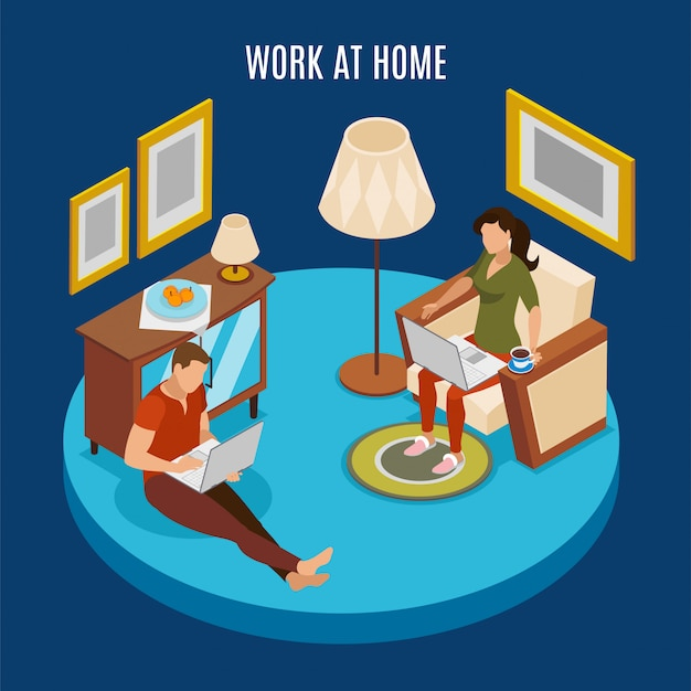 Freelancer day round isometric  composition with couple working at home sitting on floor with laptop