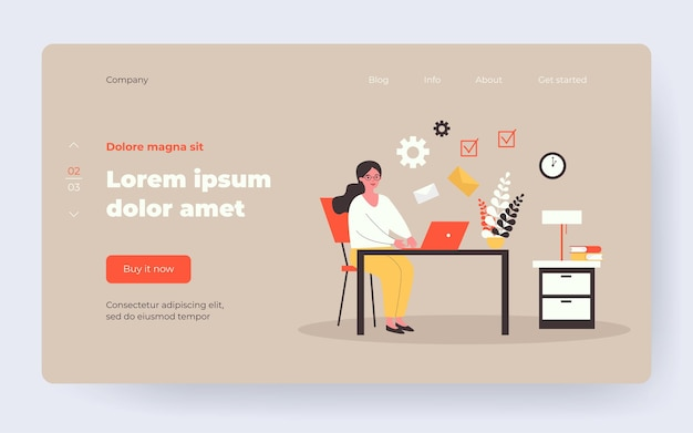 Freelancer emailing at night. woman working at laptop, sending and receiving letters flat vector illustration. freelance, time management concept for banner, website design or landing web page