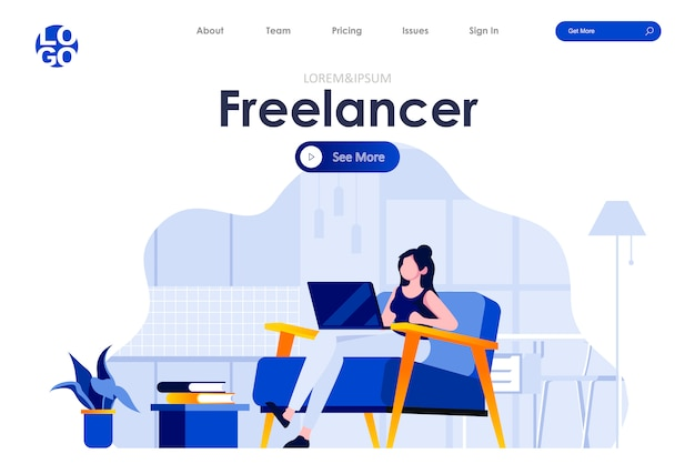 Freelancer flat landing page design web template