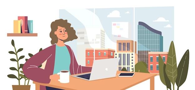프리랜서 소녀나 원격 작업자는 집에서 일합니다. 젊은 만화 여성 개발자, 학생 또는 여성 사업가가 홈 오피스에서 노트북 컴퓨터와 함께 책상에 앉아 있습니다. 평면 벡터 일러스트 레이 션