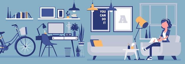 フリーランサーの女の子の部屋のインテリア、ホームオフィスのデザイン。オンラインで仕事をしている女性フリーランスの労働者、独立した自営業者として稼いでいる女性、居心地の良い職場。