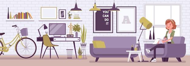 フリーランサーの女の子の部屋のインテリア、モダンなホームオフィスのデザイン