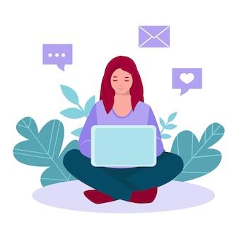 노트북 작업을 하는 프리랜서 소녀는 바닥에 앉아 있습니다. 집에서 원격 작업의 벡터 개념입니다. 평면 만화 스타일의 벡터 일러스트 레이 션.