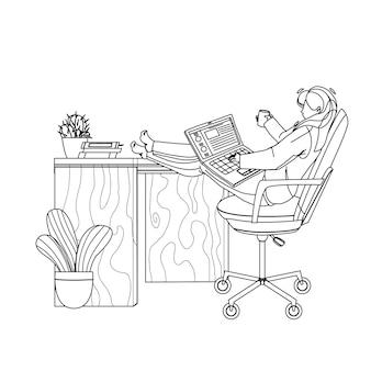 Фрилансер девушка работает на ноутбуке дома черная линия карандашный рисунок вектор. фрилансер молодой женщины с работой чашки напитка онлайн на компьютере на столе. персонаж предприниматель удаленная работа иллюстрация
