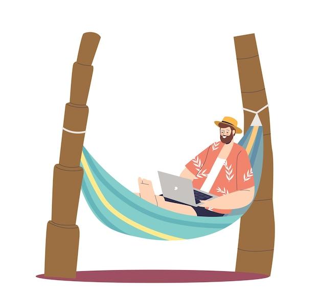 Freelancer guy work on laptop computer lying in hammock on tropical island