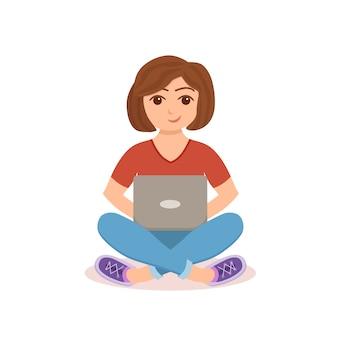 フリーランサーの幸せな若い女性が働いています。コンピューターと一緒に座って、フラットスタイルで家の中で勉強したりネットワークをやっているラップトップを使用している女の子。