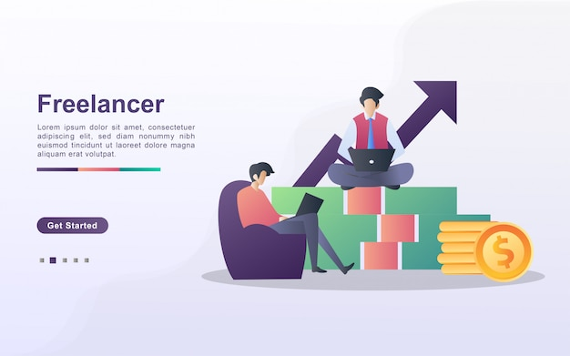 Freelancer illustration concept. two freelancers are working on the project, sitting relaxed on money.