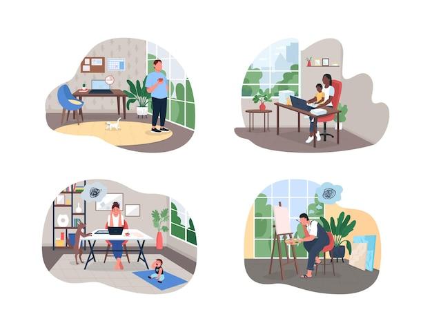 Фрилансер в домашнем офисе 2d веб, набор