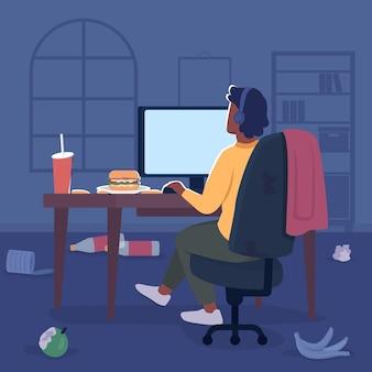 散らかった部屋のフラットカラーベクトルイラストのフリーランサー。テーブルの上のゴミとデスクトップ画面でヘッドフォンの男。背景に寝室のインテリアとコンピューター2d漫画のキャラクターのゲーマー