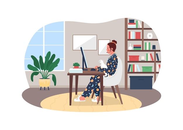 Фрилансер в пижаме плакат иллюстрации
