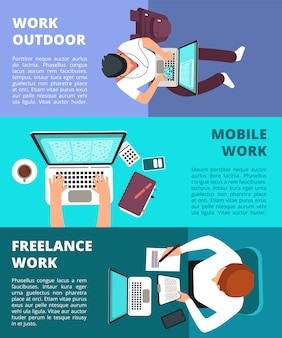 Freelancer journalist working at laptop. home work, business writing and freelance banner template set