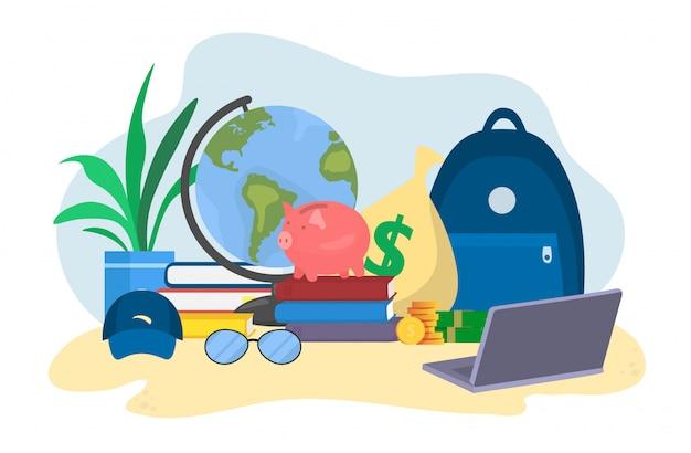 프리랜서 여행 여행, 금화의 스택, 은행 신용 및 직불 카드, 흰색, 평면 벡터 일러스트 레이 션에 고립.