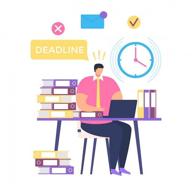 Freelancer male character sitting workplace, deadline work process, professional man help time management  on white,   illustration.