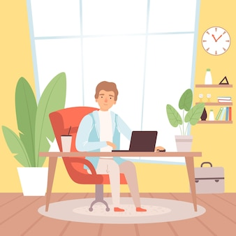 Freelancer. man in home office working with house clothes