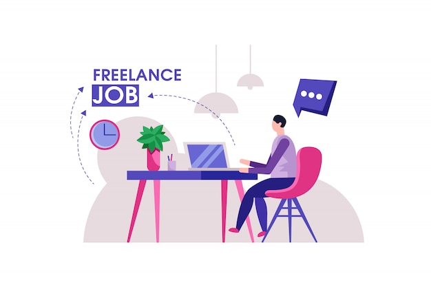 Freelancer man modern home office illustration