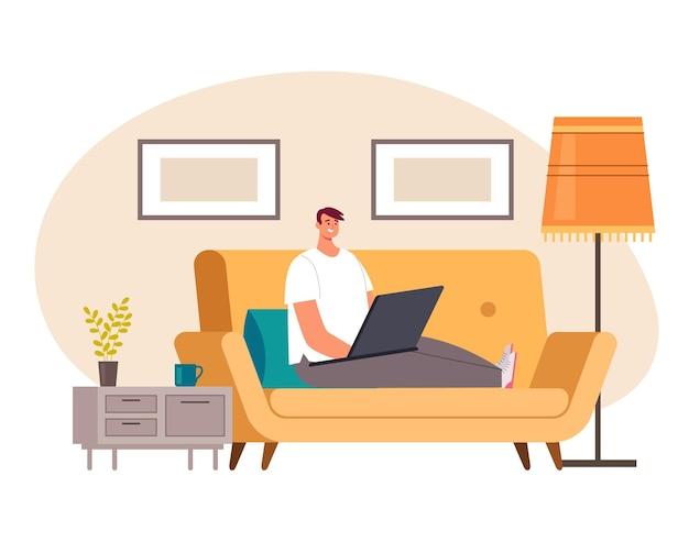 Фрилансер человек рабочий персонаж остается дома и работает на портативном компьютере
