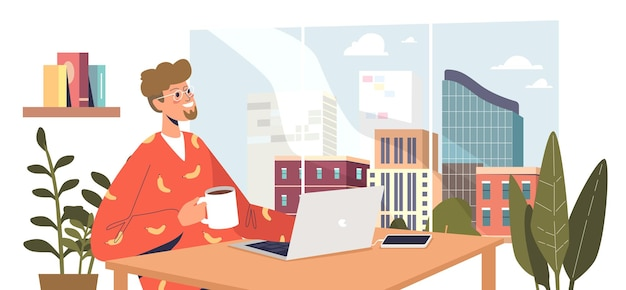 Фрилансер человек, работающий на ноутбуке в современном космическом центре коворкинга с в центре города с видом на город. программист-фрилансер или веб-дизайнер на рабочем месте. плоские векторные иллюстрации шаржа