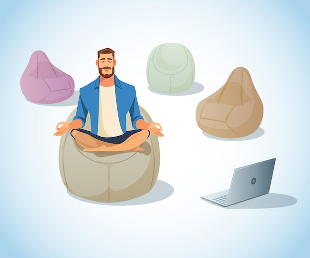 Freelancer meditating in bag chair cartoon vector