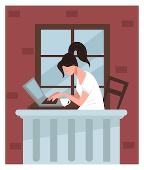 야외 발코니에서 컴퓨터 작업을 하는 프리랜서 또는 학생. 외부 노트북과 여성 캐릭터입니다. 커피나 차 한 잔을 들고 일하는 여성, 비즈니스 프로젝트를 다루는 여성. 평면 스타일의 벡터
