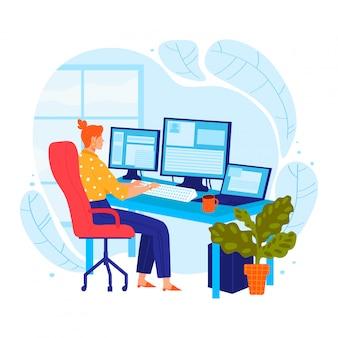 Фрилансер программист женщина характер работы персональный компьютер женского занятия профессиональный веб-разработчик, изолированные на белом, карикатура иллюстрации.