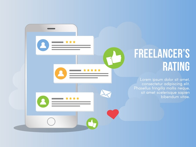 Freelancer rating concept illustration vector design template