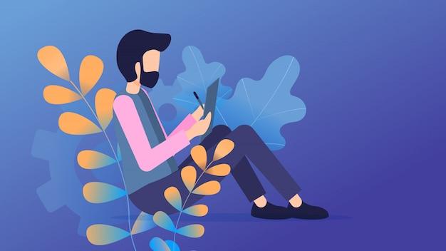 Freelancer sit use tablet online communication