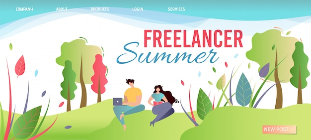 Freelancer summer landing page. offer work anywhere.