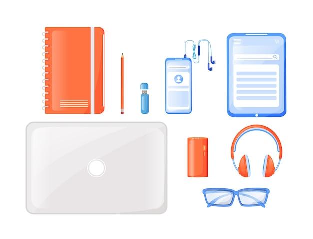 Набор плоских цветных предметов первой необходимости для фрилансера. ноутбук, планшет. наушники. фриланс должен иметь оборудование. путешествие гаджеты 2d изолированных иллюстрация шаржа на белом фоне