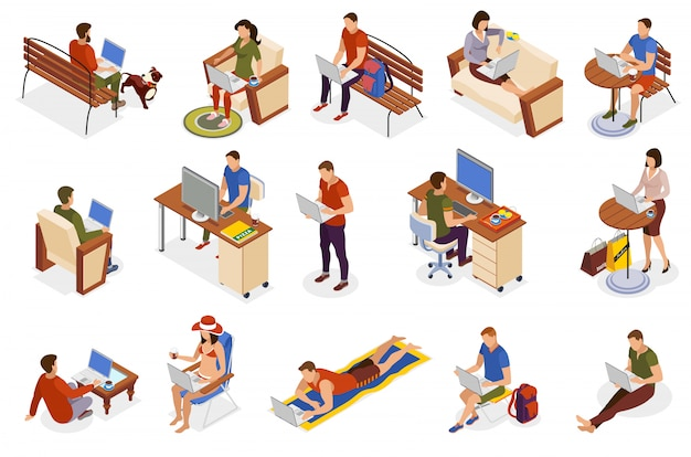 Freelancer typical day isometric icons collection with working home outdoor in park cafe on beach