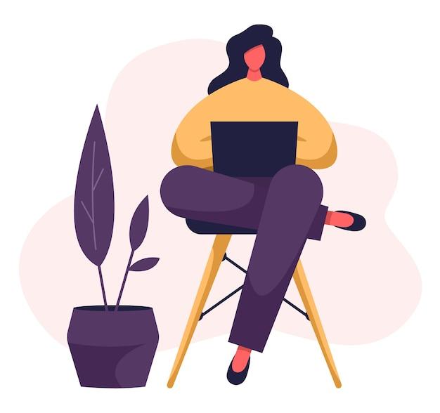 Freelancer typing on her notebook