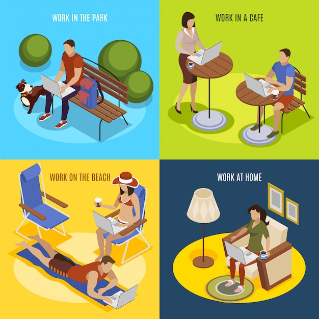 Freelancer usual day 4 isometric icons square with work at home in park on beach