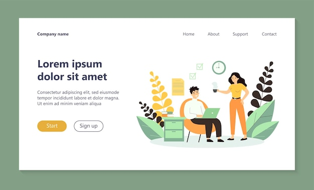 Freelancer with laptop working at home landing page