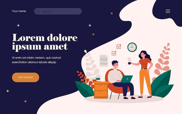 Freelancer with laptop working at home. woman giving cup of hot drink to man flat vector illustration. freelance, couple, relationship concept for banner, website design or landing web page