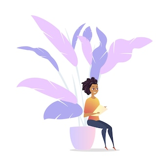 Freelancer woman character chill lounge space