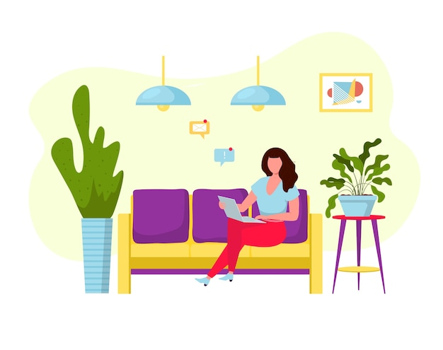 Freelancer woman with computer on the couch.