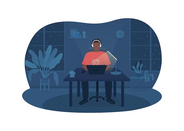 Фрилансер работает ночью плакат иллюстрации
