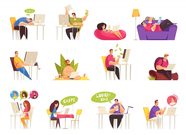 Freelancer at work flexible remote home traveling relaxing on beach icons big set flat cartoon