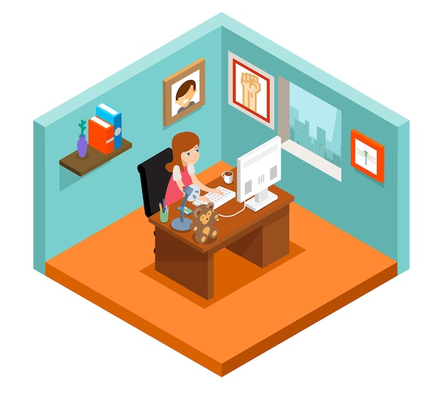 Freelancer at work. isometric 3d freelance woman working at home.
