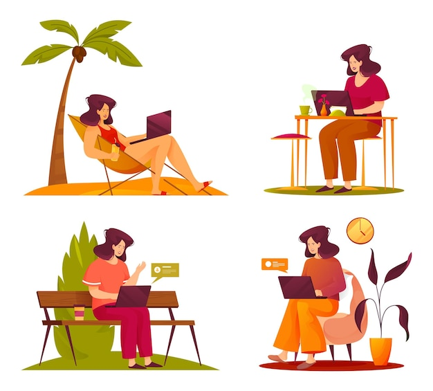 Фрилансер рабочий мультфильм занятая женщина векторный набор