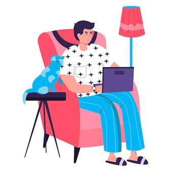 홈 오피스 개념에서 일하는 프리랜서. 노트북의 자에 앉아 남자입니다. 프리랜서 직장, 프로젝트 캐릭터 장면에서 원격 작업. 사람들이 활동과 평면 디자인의 벡터 일러스트 레이 션