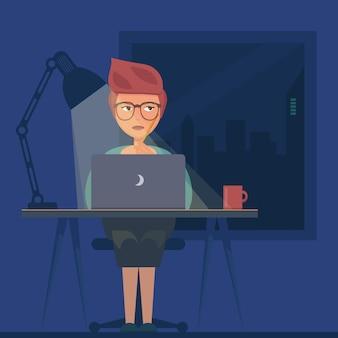 밤 개념에서 일하는 프리랜서. 젊은 여자 노트북, 방에 앉아, 작업, 인터넷 서핑 또는 네트워킹.