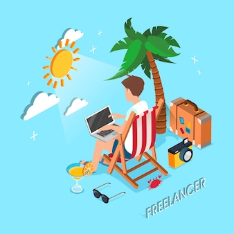 Freelancer working at the beach in 3d isometric flat design