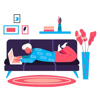 Freelancer working at home office concept. man lying with laptop on sofa in room. freelance workplace, remote work on project character scene. vector illustration in flat design with people activities