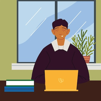 Freelancer working home with laptop