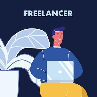 Freelancer working on laptop color illustration