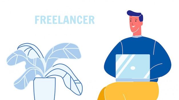 Freelancer working on laptop vector illustration